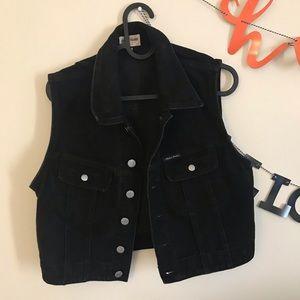 Black Denim Jean Vest